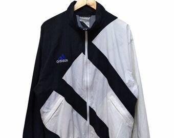 Hot Sale!!! Rare Vintage 90s ADIDAS All Over Big Logo Windbreaker Jacket Hip Hop Skate Swag Medium Size