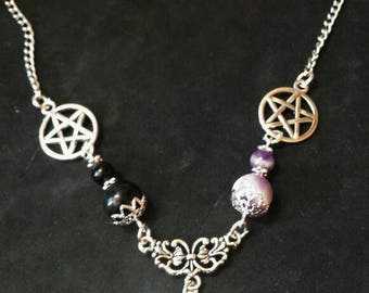 Pagan wiccan witch necklace jewelry-jewelry-wicca-witch-Amethyst-Obsidian