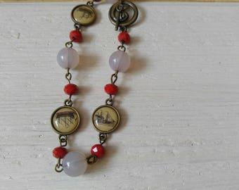 Pirate bracelet/black pearl bracelet/black ship bbeaded bracelet