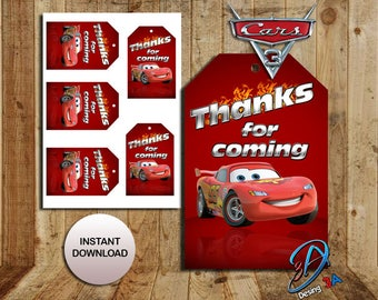 Cars 3, Cars 3 Tags, Cars 3 party, Cars 3 birthday, Cars party, Favor tags, Cars, Disney cars Birthday, Cars 3 Favor tags, instant download