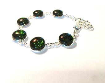 Green aventurine bracelet glass fused glass fusing