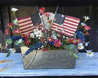Americana Farmhouse Floral Arrangement, Fourth of July Door or Wall Decor, Memorial Day, Galvanized Tin Door Hanger, Red, White and Blue