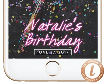 INSTANT DOWNLOAD Snapchat Filter Birthday, Snapchat Geofilter, Birthday Geofilter, Snapchat Birthday, Glowing Letters Filter, BD02