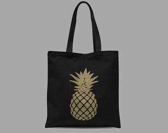 Gold Pineapple Print Tote Bag