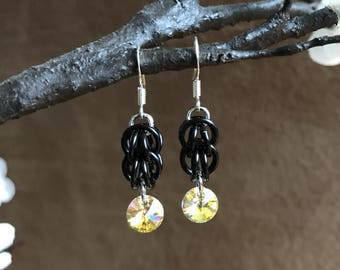 Swarovski Crystal, Chainmaille, Earrings, Black, Yellow, Drop, Dangle