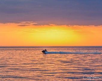 Sunset Jetski on Lake Erie Scenic 8x10 Picture Ohio