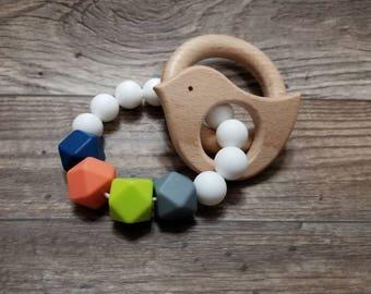 Silicone Teething Toy | Bird | Modern | Teether | Handmade in Canada | Unique | Teething | Baby | Kenton Creations | Textured | Wood
