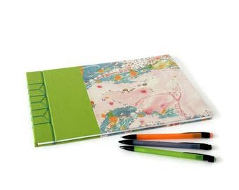 A4 Hardback Japanese Stab Bound Journal or Sketchbook: Green Bookcloth and Contemporary Printed Marbled Paper