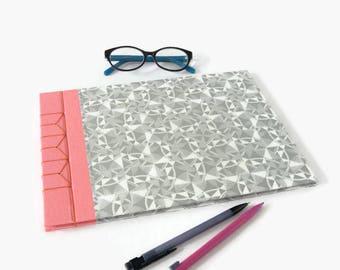 A4 Hardback Stab Bound Sketchbook or Journal - Rose Pink Bookcloth, Grey & White Patterned Paper and Orange Linen Thread