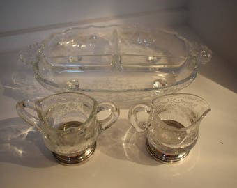 Sheffield Sterling Silver and Glass Serving Dish, Sugar and Creamer 1920-30's