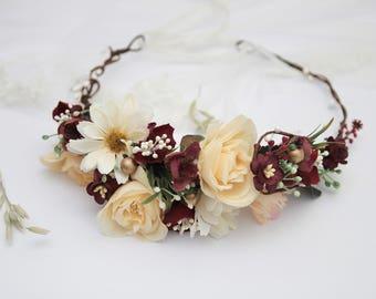 READY Beige Burgundy Wedding Headpiece \ Fall Flower Crown Bridal Hairpiece Wedding Headband Flower Head Wreath Christmas Hair Wreath READY