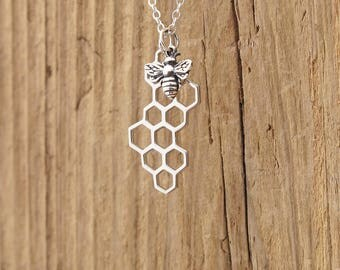 Sterling Silver Bee And Honeycomb Charm Pendant Necklace Worker Bee Honeybee Bumblebee