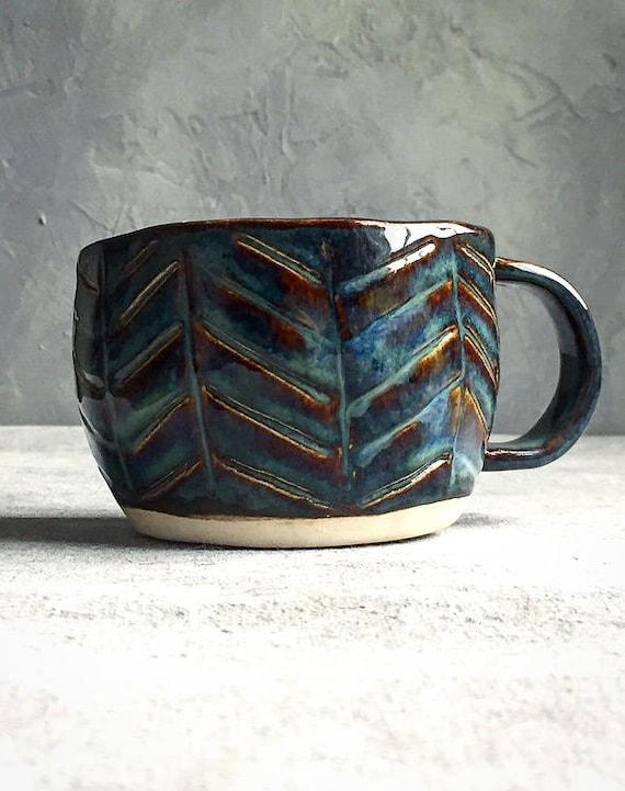 Blue Herringbone Mug