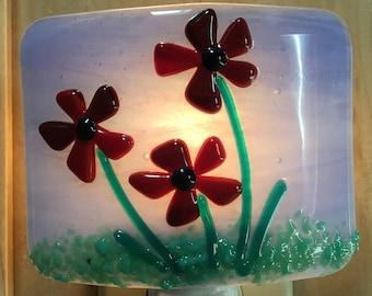 Fused glass red flower nightlight