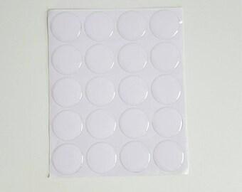 20 cabochons 25mm epoxy transparent sticker