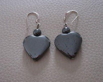 Sterling silver hematite haematite heart earrings pair gift love crystal healing
