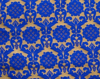 Half Yard of Golden and Blue Floral Pattern Brocade Silk Fabric by the yard