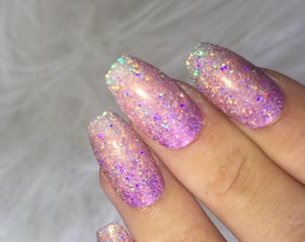 Holo Glitter Press on Nails   Glitter False Nails   Ombre Nails   Acrylic Nails   Custom Shapes and Sizes