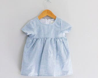 Chambray linen baby doll dress// 12- 18 Months READY TO SHIP// Free Shipping