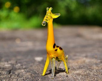 Yellow glass giraffe figurine animals glass giraffe miniature art glass toy murano giraffe animals tiny small figure glass orange sculpture