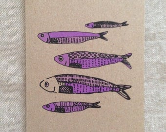 Fish Purple Card, greeting card, blank card, kraft paper, rustic card, raw, any occasion card, organic card, nature, sea creature card