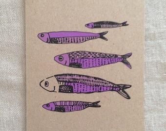 Fish Purple Card, greeting card, blank card, kraft paper, rustic card, raw, any occasion card, organic card, nature, sea creature card