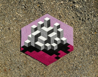 Op-Art III. - handmade mosaic stickers with recycled textile materials by caraWonga