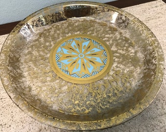 Beautiful Mid Century Gold Speckled and Turquoise Pie or Appetizer Dish