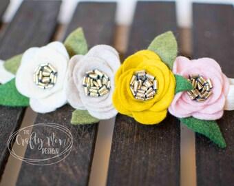 Baby Headband-Felt Flower Headband Tan, Beige, Cream, Pink, Mustard Yellow - Baby Girl Headband-Headband-Baby Headband-Newborn Headband