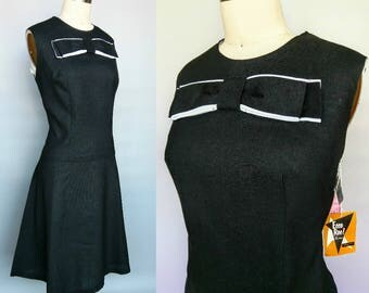 type a / 1950s deadstock black rayon day dress with big bow / 16 18 20 xl xxl 1x