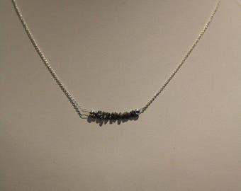 Rough Silver Diamond Necklace