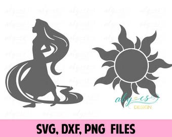 Disney SVG Tangled Rapunzel Sun SVG DXF Disney Princess svg tangled svg disney svg files rapunzel, silhouette, cricut, cameo