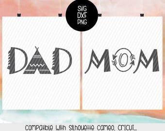 Mom Boho SVG, Dad Boho Svg, decal, monogram, Dxf, Png, Silhouette, Cricut, Cut files