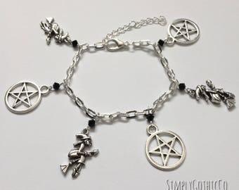 Gothic Witchcraft Charm Bracelet