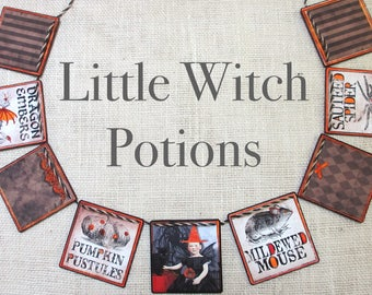 LITTLE WITCH POTIONS Garland-- Witches, Kids Halloween decor, Halloween banner, Halloween gift, Halloween party decor,  Halloween hostess