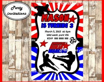 American Ninja Warrior Invitation, printable American Ninja Birthday Invitation, Ninja Warrior invitation