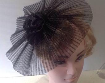 black pleated crinoline fascinator  on sinnamay  base, on satin  bound headband