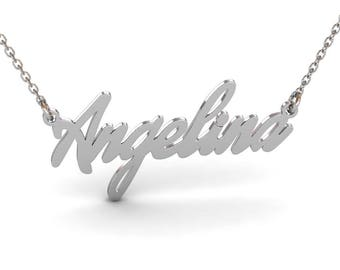Sterling Silver Cursive Name Necklace, Custom Name Necklace, Personalized Name Necklace, Cursive Nameplate Necklace, Name Necklace