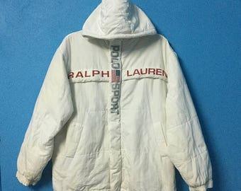 Rare!!vintage 90s polo sport jacket hooded big logo