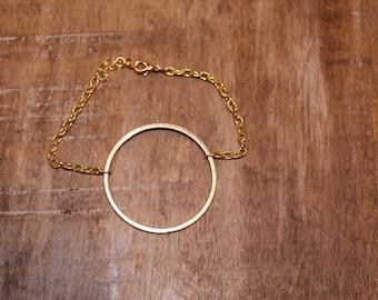 Gold Circle Chain Link Bracelet