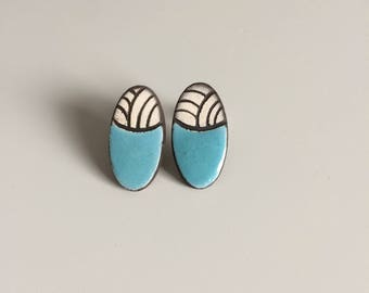 Earrings studs, oval, geometric, graphic, ceramic, ceramic