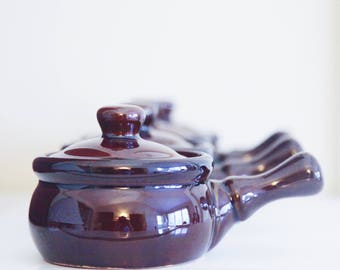 Set of Four Brown Glazed Casseroles From Taiwan