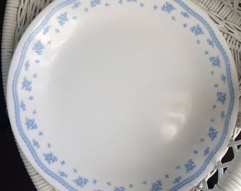 "Corelle ""Morning Blue"" by Corning Blue and White Dinner Plate Vintage"