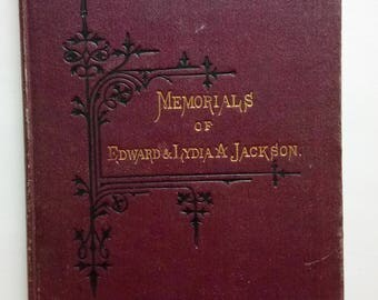 Antique Book By Nathanael Burwash Memorials Of Edward And Lydia Ann Jackson 1876 Methodist Book Room