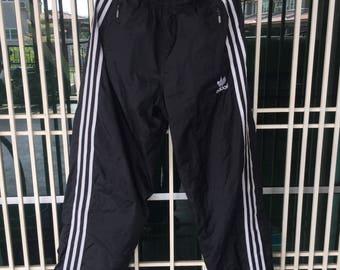 Vintage 90s Adidas 3 Stripes Embro Trefoil Embroidery Logo Track Pants / Jogger / streetwear / japanese style / hip hop