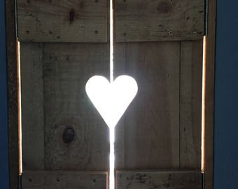 Heart design window shutters, wooden shutters, wooden frame with shutters, shop display, love heart design, bespoke, customised,personalised