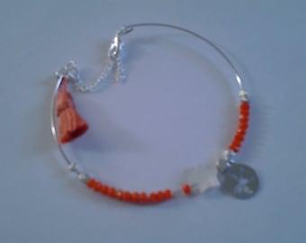 Thin silver coral bracelet