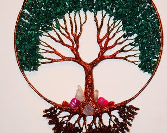 Tree Of Life Wall Decor Hanging, Malachite Gemstone Wire Tree Sculpture
