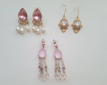 Antique Victorian Feminine Dangle and Drop Earrings! Pink and Silver - Signed Gold Tone and CZ Earrings-Dark Pink and Pearl Dangle and Drop