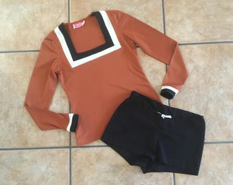 1970's Frederick's of Hollywood Short Set (Size 5) • Vintage Short Shorts and Matching Top Set